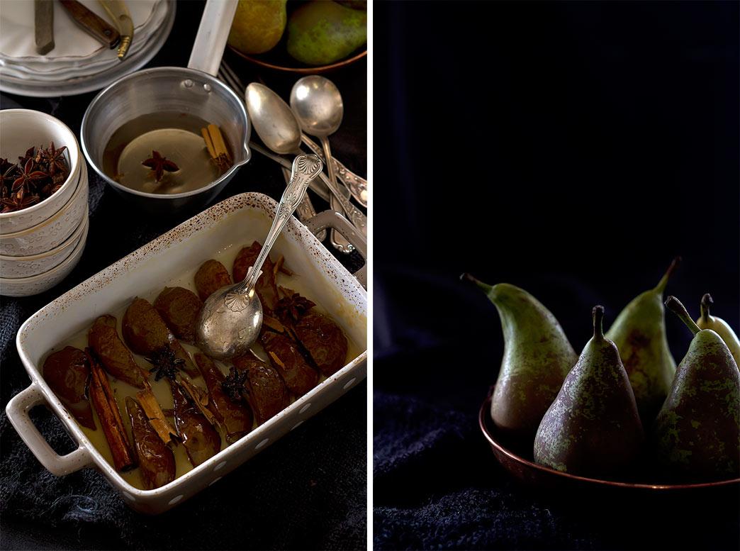 peras asadas con almíbar