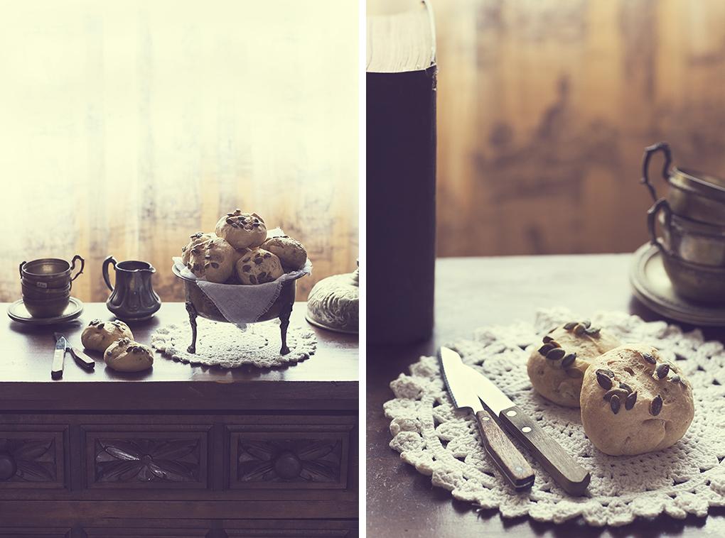 Panecillos con pipas de calabaza