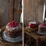 Bizcocho de chocolate y frambuesas