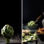 Alcachofas fritas con salsa de ajo negro