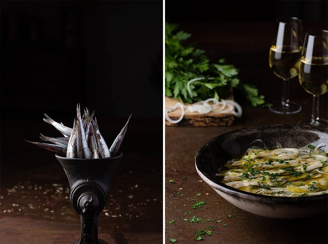 Ingredientes para los boquerones en vinagre