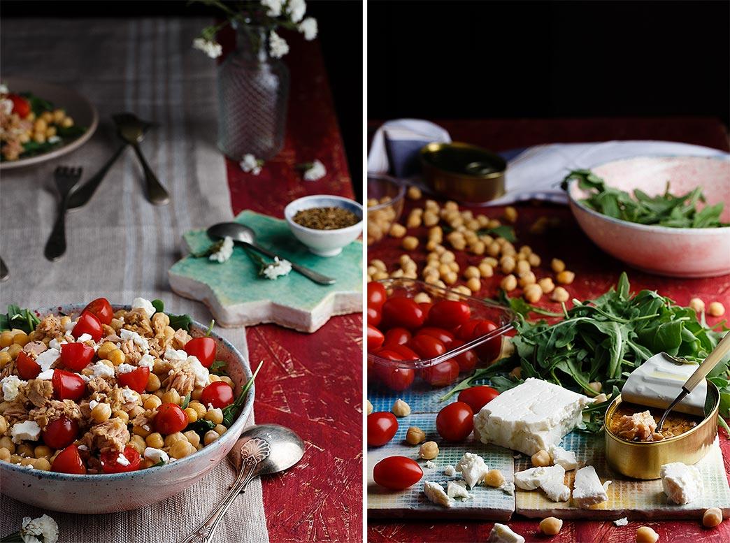 Ingredientes para hacer ensalada de garbanzos