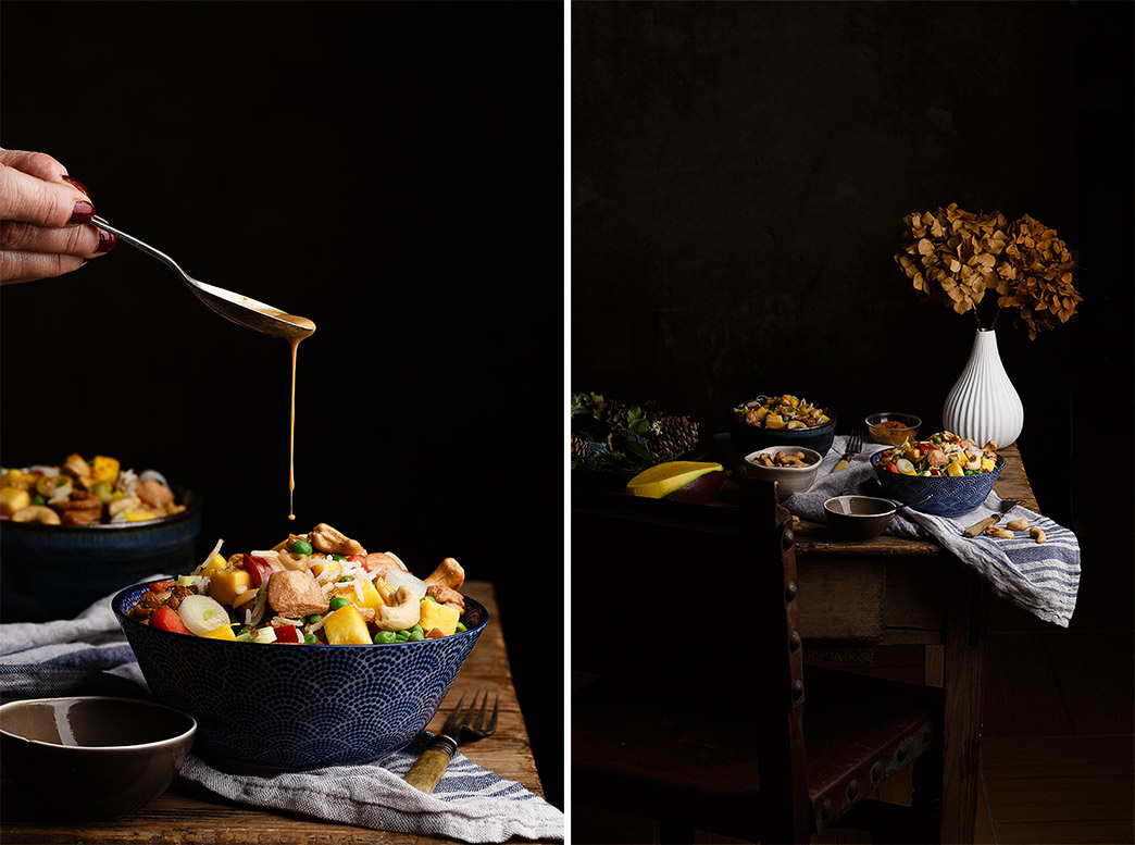 Ensalada de pollo con salsa de soja
