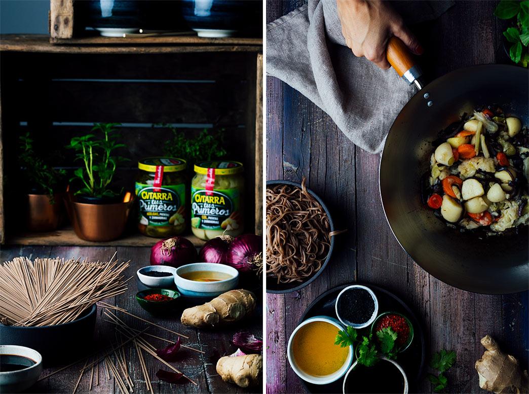 receta fideos soba con verduras