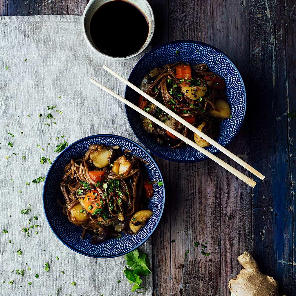 fideos soba con verduras