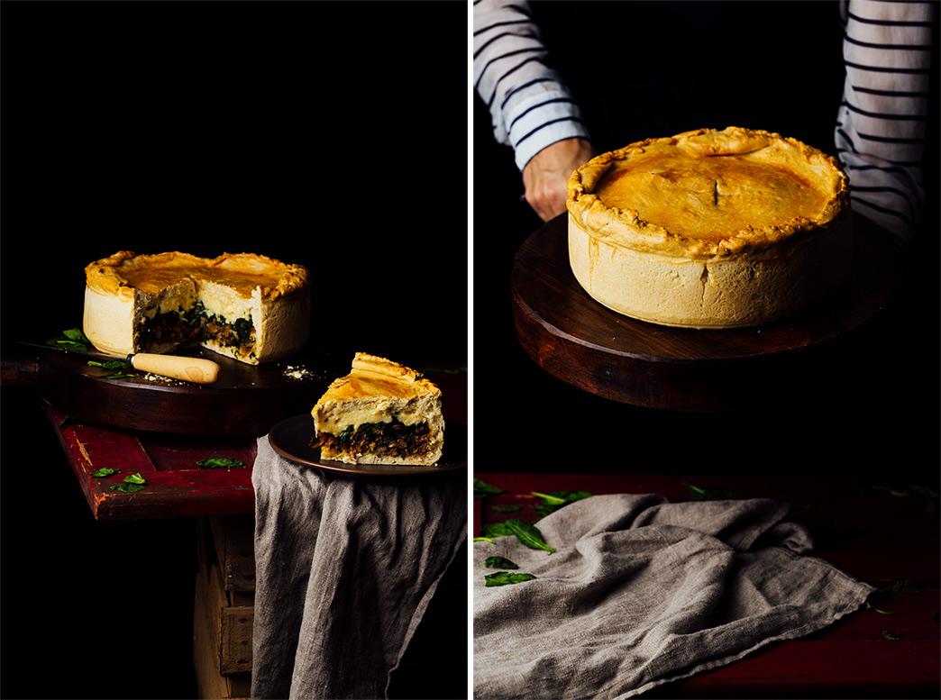 pastel de cordero y espinacas