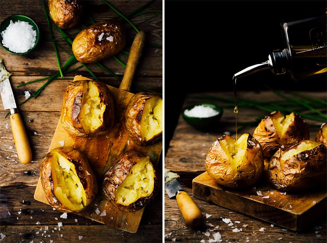 Patatas enteras asadas al horno