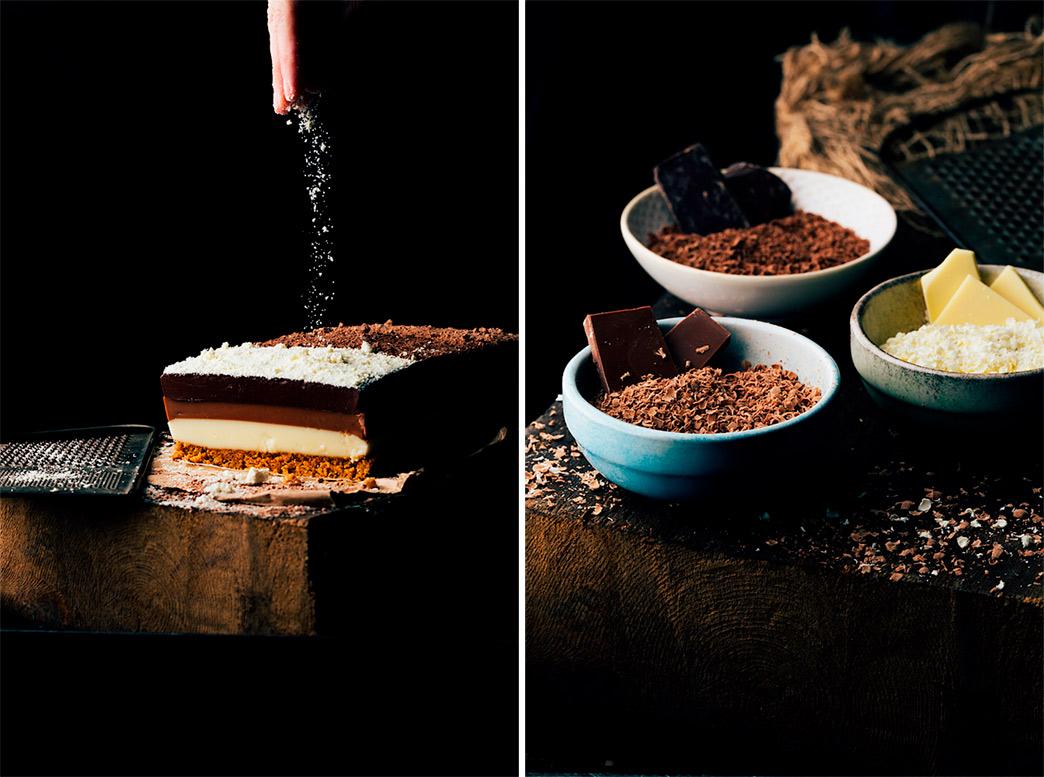 Tarta de tres chocolates receta
