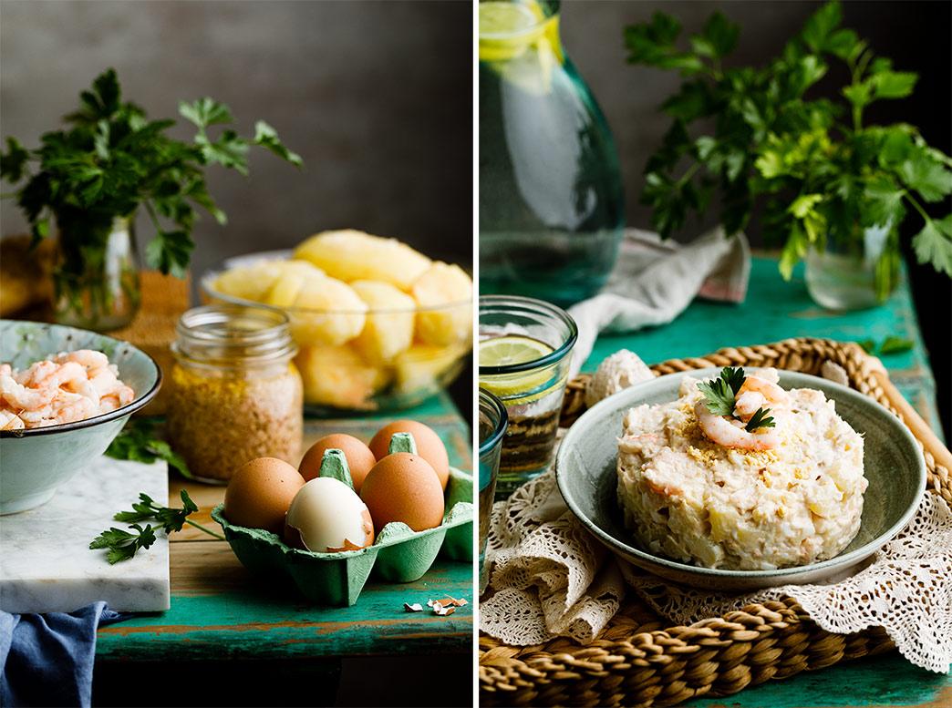 Ingredientes de la ensaladilla rusa con gambas