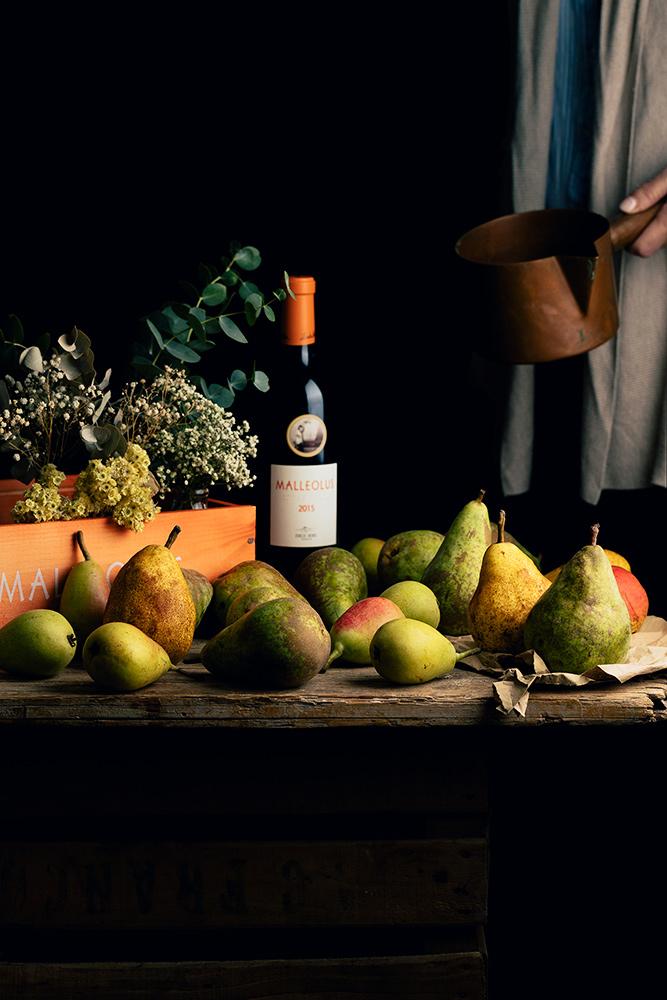 Ingredientes para hacer peras al vino tinto
