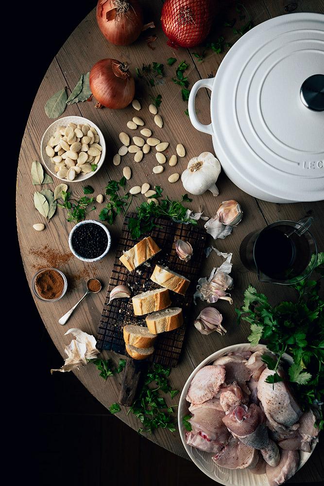 Ingredientes para pollo con salsa de almendras