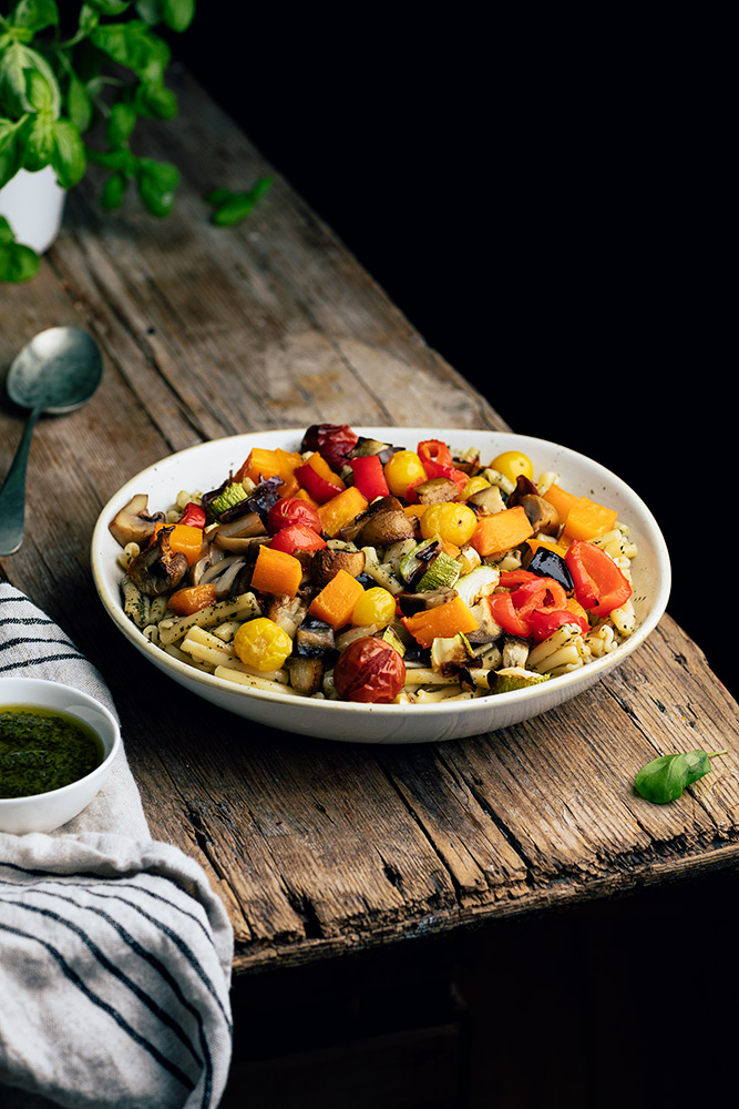 Pasta con verduras asadas