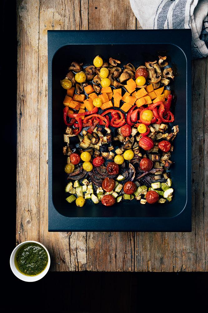 pasta con verduras y pesto